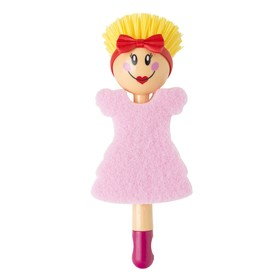Щётка для посуды + губка Dolls, цвет МИКС