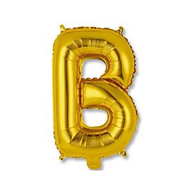 """Шар фольгированный 14"""" """"Буква В"""", индивидуальная упаковка, цвет золотой"""
