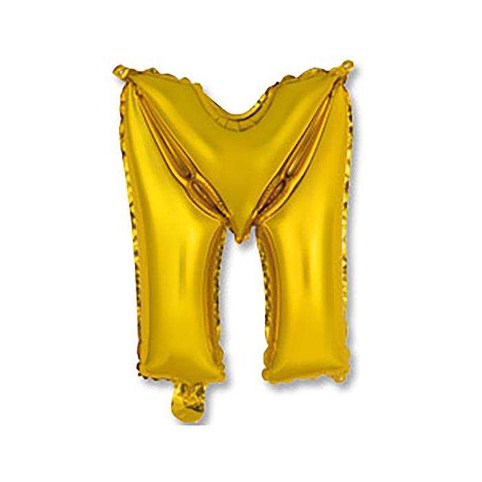 """Шар фольгированный 14"""" """"Буква М"""", индивидуальная упаковка, цвет золотой"""