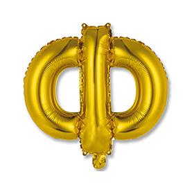 """Шар фольгированный 14"""" """"Буква Ф"""", индивидуальная упаковка, цвет золотой"""