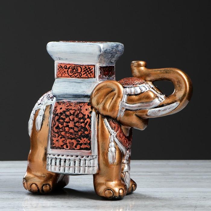 "Подставка декоративная ""Индийский слон"", бронза, микс"