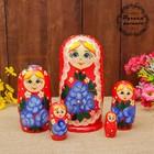 Матрёшка «Цветы», красная, 5 кукольная, полхово-майданская роспись, 17 см