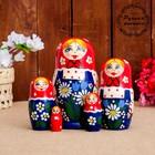 Матрёшка «Сарафан», красный платок, 5 кукольная, 17 см