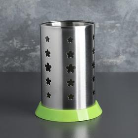 Подставка для столовых приборов 10х16 см, зелёный поддон, цвет МИКС