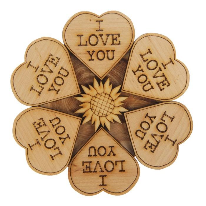 Подставка под горячее «Сердца», I love you, D=11 см, можжевельник