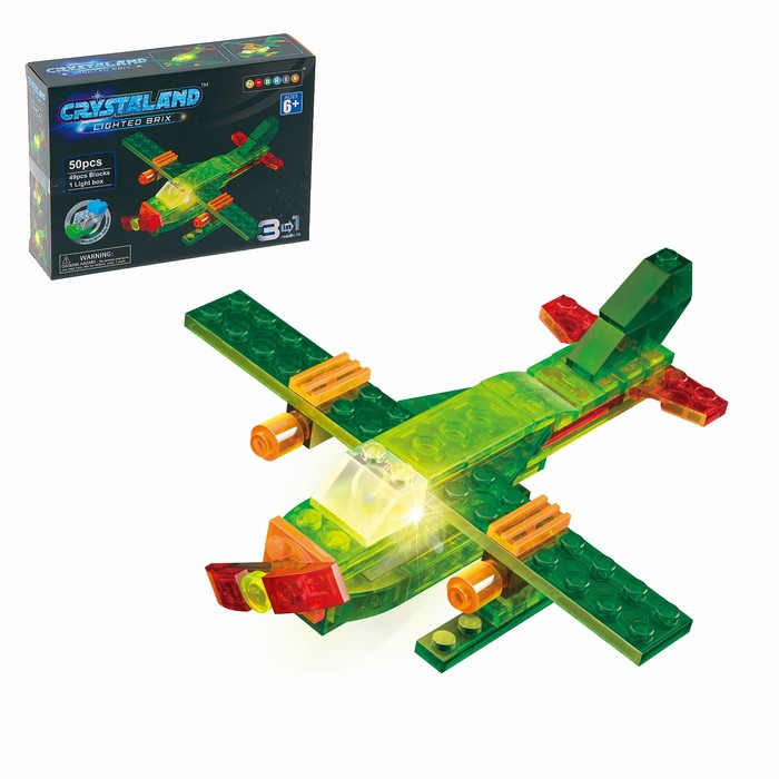 Светящийся конструктор Crystaland «Самолёт», 3 в 1, 50 деталей