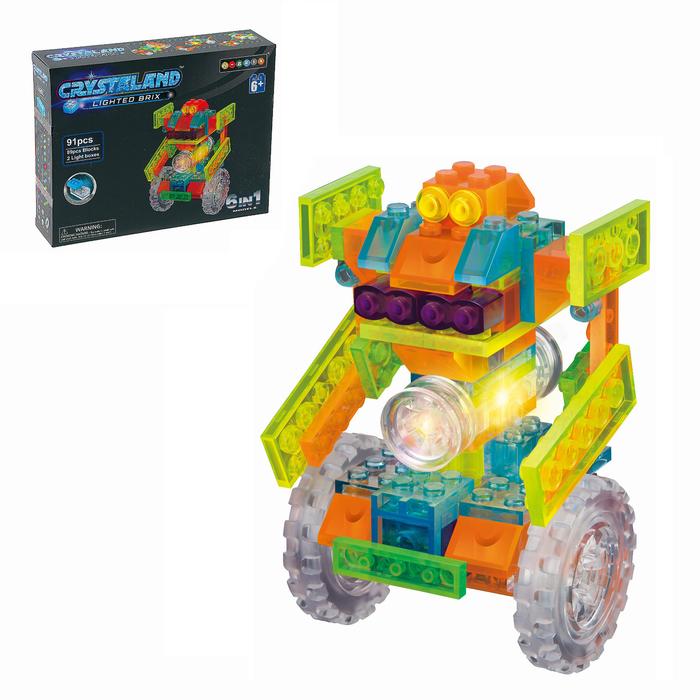 Светящийся конструктор Crystaland «Робот-дройд», 6 в 1, 91 деталь