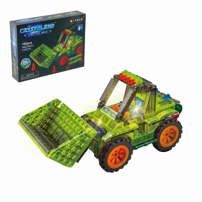 Светящийся конструктор Crystaland «Трактор с ковшом», 192 детали