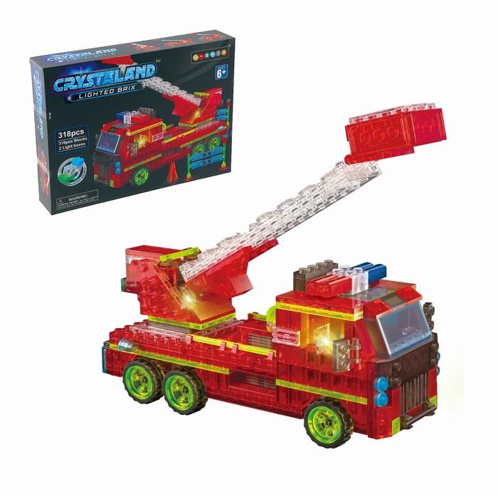 Светящийся конструктор Crystaland «Пожарная машина», 318 деталей