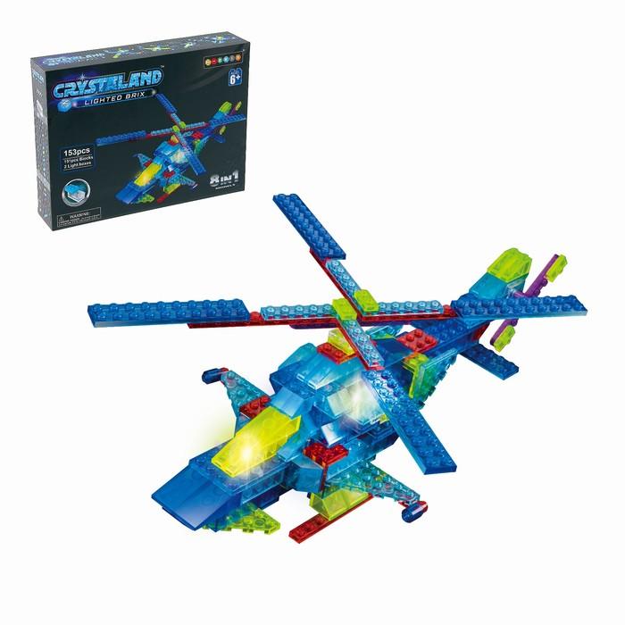 Светящийся конструктор Crystaland «Вертолёт», 8 в 1, 153 детали