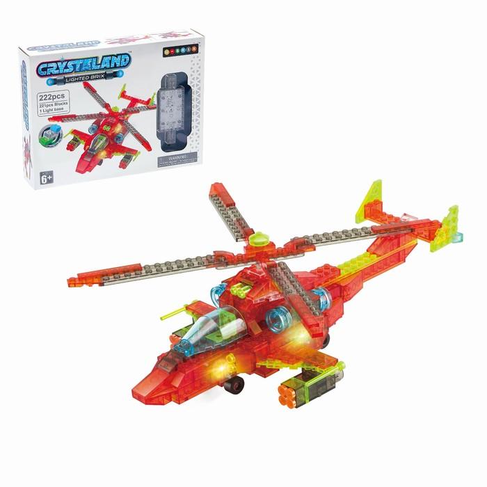 Светящийся конструктор Crystaland «Военный вертолёт», 222 детали
