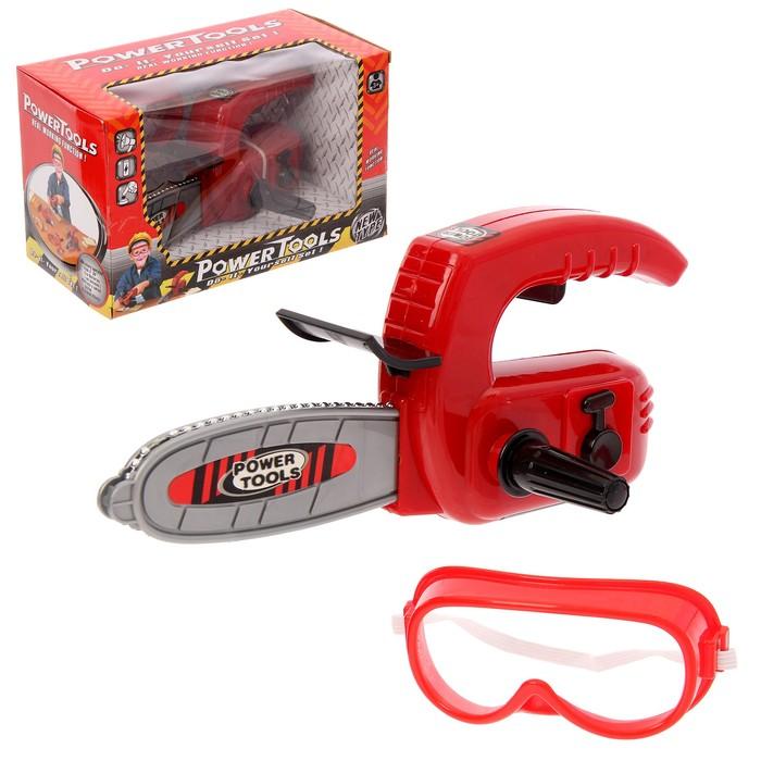 Бензопила «Дровосек», с очками, работает от батареек