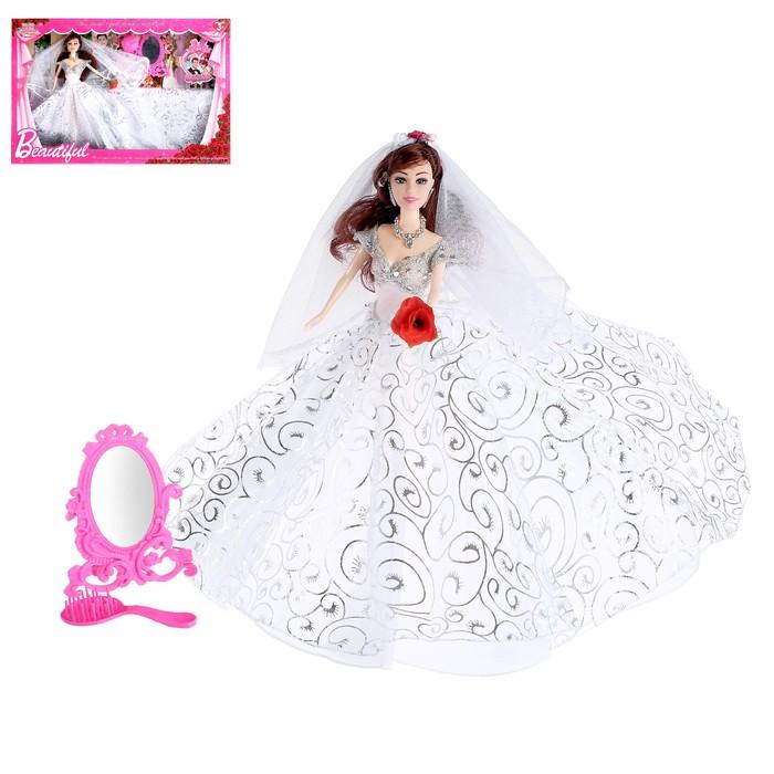 """Кукла модель """"Карина"""" в свадебном платье, с аксессуарами"""