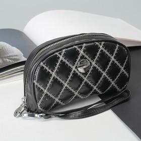 Косметичка-сумочка «Кожа ягнёнка», отдел на молнии, с ручкой, цвет чёрный Ош