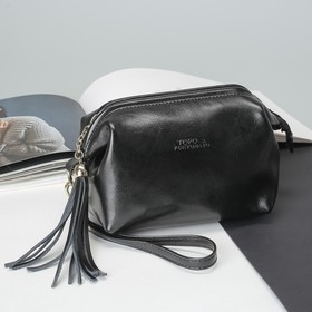 Косметичка-сумочка, отдел на молнии, с ручкой, чёрная юла Ош