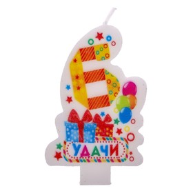"""Candle in cake figure 6 """"good Luck"""""""