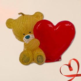Свеча формовая 'Мишка с сердцем', 5 см Ош