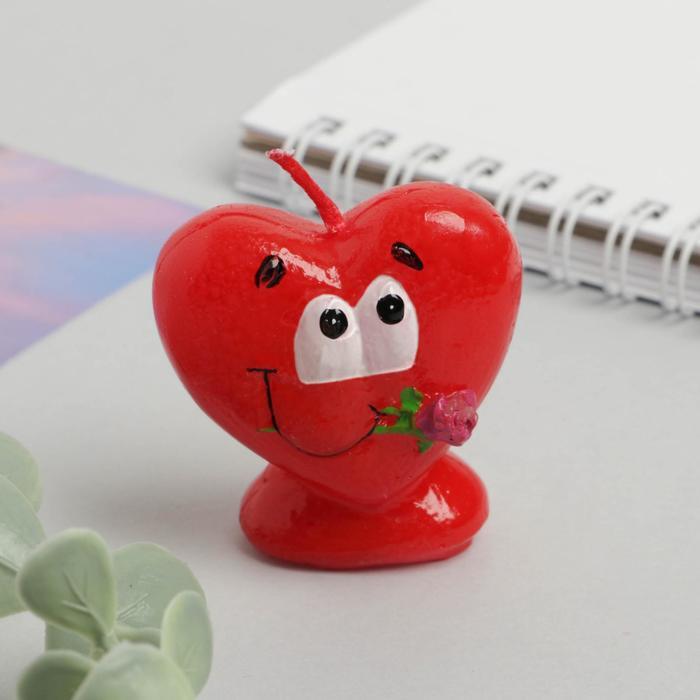 Свеча формовая «Сердце с розой», 5 см - фото 35610364