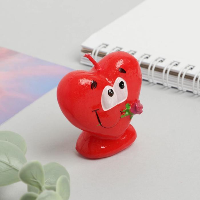 Свеча формовая «Сердце с розой», 5 см - фото 35610365