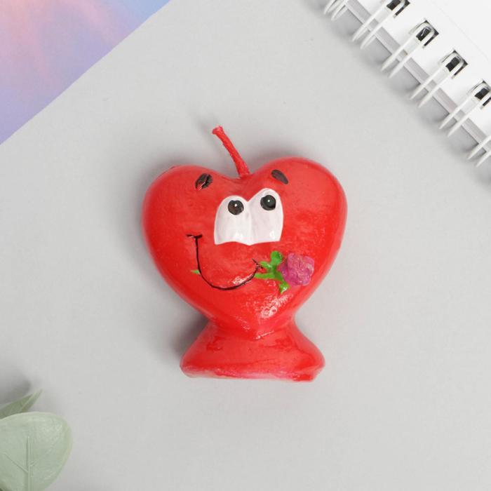 Свеча формовая «Сердце с розой», 5 см - фото 35610366