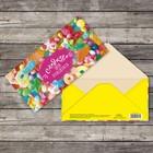 Конверт для денег «Сладкого дня рождения», конфеты, 16,5 х 8 см