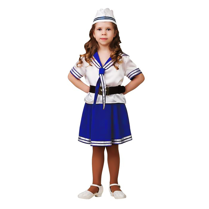 Карнавальный костюм «Морячка», (матроска, юбка, пилотка, ремень), размер 28, рост 110 см