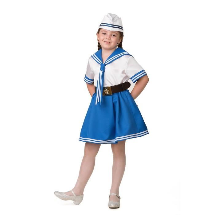 Карнавальный костюм «Морячка», (матроска, юбка, пилотка, ремень), размер 32, рост 122 см - фото 105522287