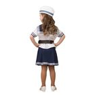 Карнавальный костюм «Морячка», (матроска, юбка, пилотка, ремень), размер 32, рост 122 см - фото 105522288