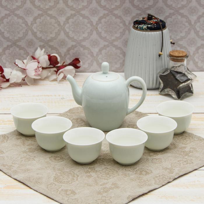 """Набор для чайной церемонии """"Белоснежность"""", 7 предметов: чайник 250 мл, 6 чашек 50 мл"""