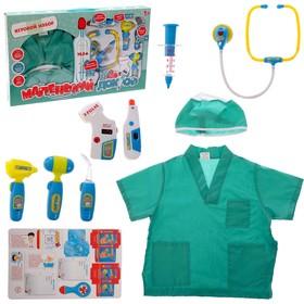 Набор доктора №4 «Лучший врач» с халатом и шапочкой, 9 предметов