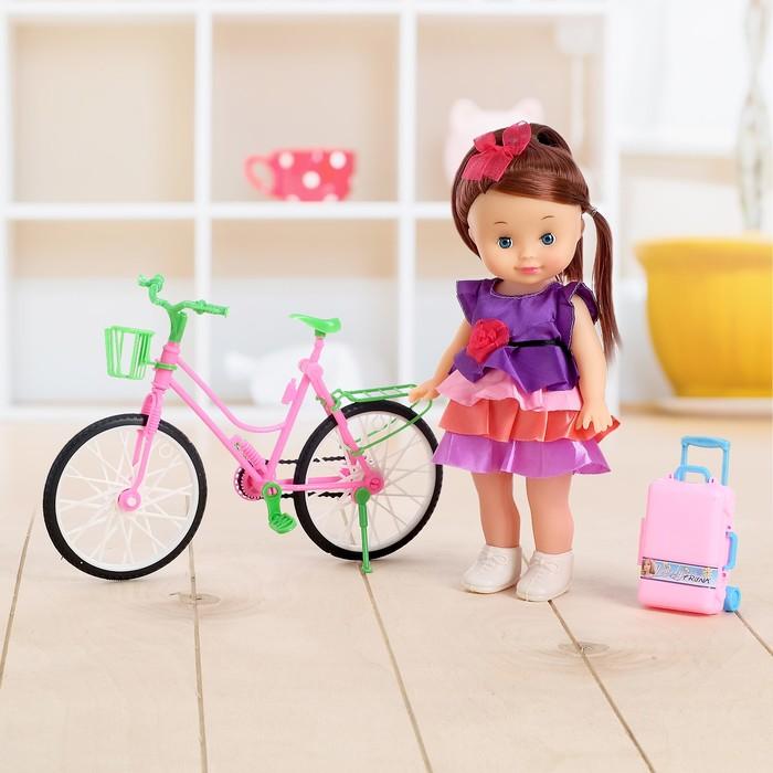 """Кукла """"Мая на велосипеде"""" в платье, с аксессуарами"""
