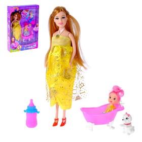 Кукла модель «Лина беременная» с малышкой, в платье, с аксессуарами, МИКС
