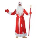 """Карнавальный костюм Деда Мороза """"Золотые снежинки"""", шуба, пояс, шапка, варежки, борода, р-р 52-54, рост 176-182 см"""