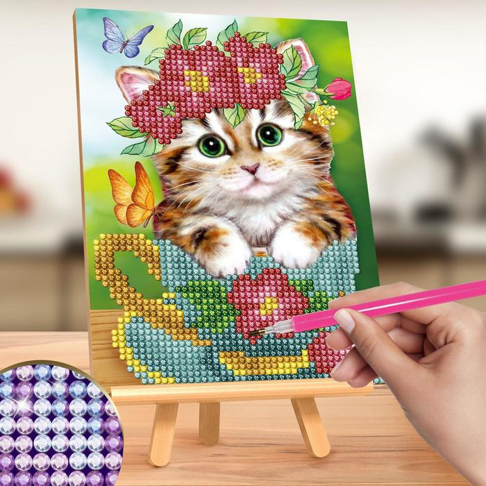 "Алмазная вышивка на подставке ""Котик"", 13 х 19 см"