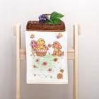 """Полотенце махровое """" Собачка в корзинке"""", цв оранжевый 25х50 см, хл100, 380 г/м"""