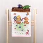 """Полотенце махровое """" Собачка в корзинке"""", цв розовый 25х50 см, хл100, 380 г/м"""