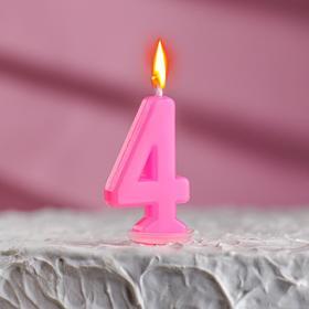 Свеча в торт цифра 4, голубой Ош