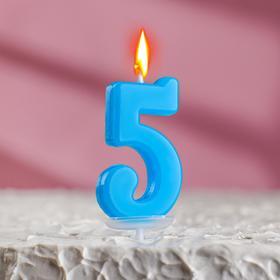 Свеча в торт цифра 5, голубой