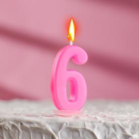 Свеча в торт цифра 6, голубой Ош