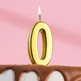 Свеча в торт цифра 0, золотой