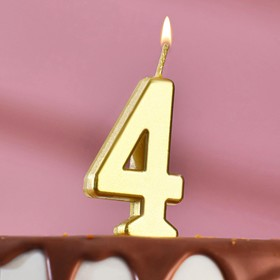 Свеча в торт цифра 4, золотой
