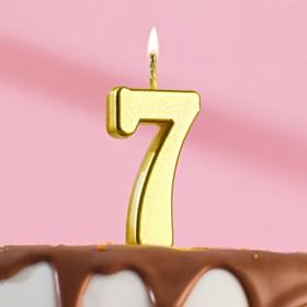Свеча в торт цифра 7, золотой