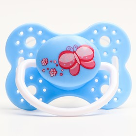 Пустышка силиконовая ортодонтическая, от 0 мес., цвет голубой