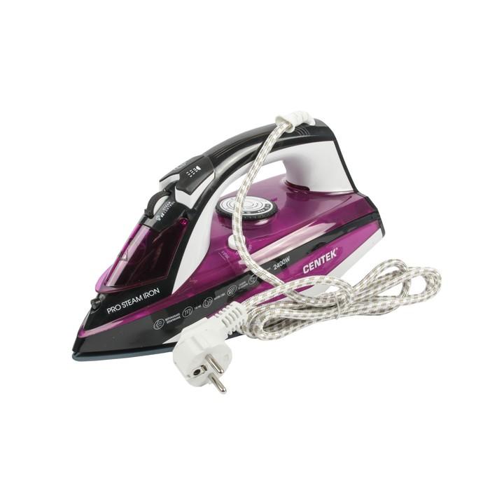 Утюг Centek CT-2344, 2400 Вт, керамическая подошва, паровой удар, самоочистка, фиолетовый
