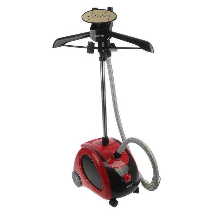 Отпариватель Centek CT-2370, 2000 Вт, 1.6 л, 30 г/мин, керамика, вешалка, красно-черный