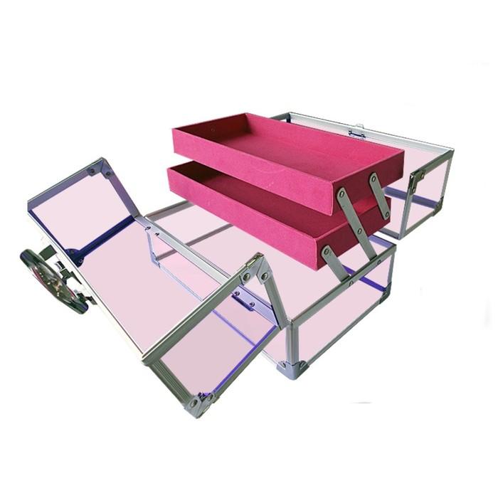 Кейс для косметических принадлежностей, 270x170x175 мм, цвет розовое стекло