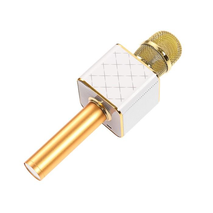 Микрофон для караоке LuazON, Bluetooth колонка, USB, microUSB, цвет золото