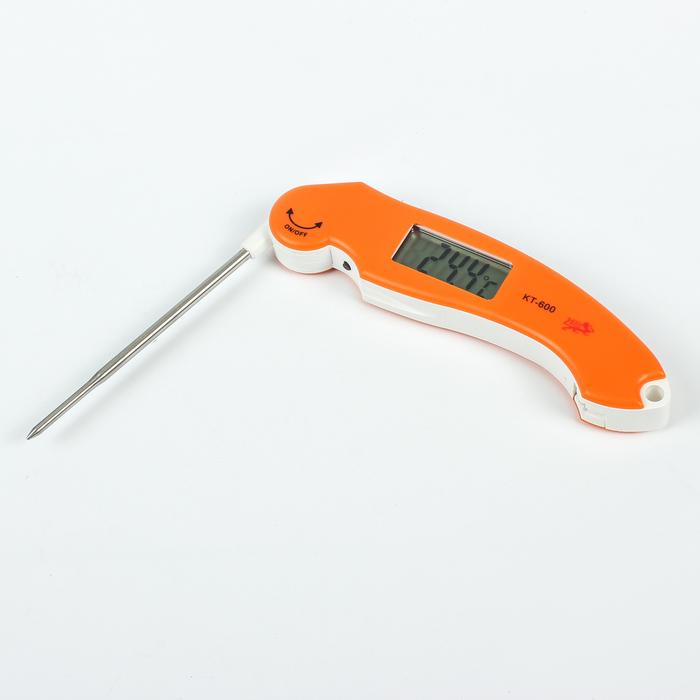 Термощуп кухонный электронный с дисплеем, складной, оранжевый (-50~+300),