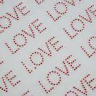 Термоаппликация из страз «Love», 5 × 2 см, 54 шт на листе, цвет красный