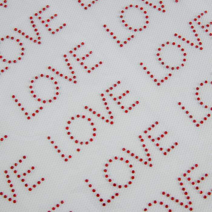 """Термоаппликация из страз """"Love"""", 5*2см, 54шт на листе, цвет красный"""